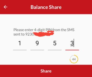 balance share number verify