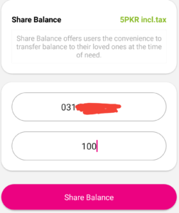 Enter zong number and amount then click Share Balance