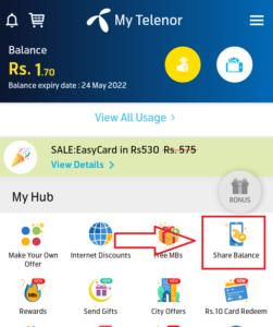 My telenor app share balance